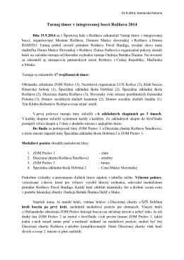 Turnaj tímov v integrovanej bocci Rožňava 2014