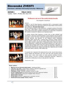 Slovenske ZVESTI Vydava: ASAV , PO box 263, Kew 3101 , www