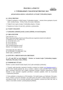 pravidlá a pokyny 1. vyšehradské cyklistické preteky 2013