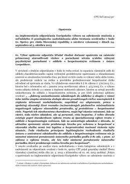 CPT/Inf (2014) 30* Opatrenia na implementáciu odporúčania