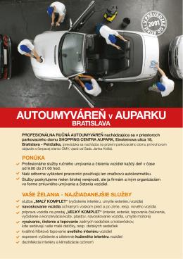 Informačný leták - Autoumyváreň v Auparku, Bratislava