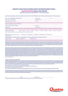 žiadosť o poskytnutie bezúčelového spotrebiteľského úveru