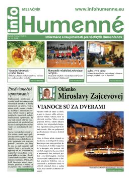 miroslavy zajcevovej - info Humenné | Noviny