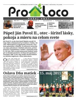 Pápež Ján Pavol II., otec - šíriteľ lásky, pokoja a mieru