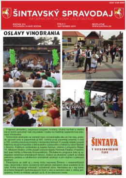 Šintavský spravodaj september 2014
