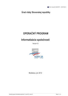 Operačný program Informatizácia spoločnosti (OPIS), verzia