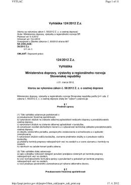 Vyhláška 124/2012 Zz 124/2012 Zz Vyhláška Ministerstva
