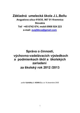 2012/13 - ZUŠ JL Bellu v KREMNICI