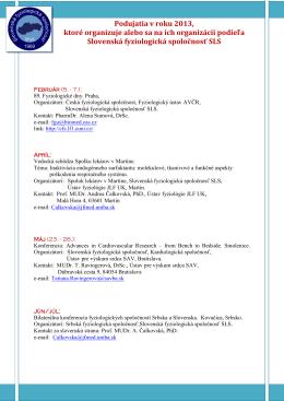 Podujatia v roku 2013, ktoré organizuje alebo sa na ich org