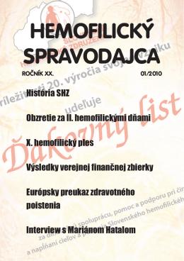 Hemofilický spravodajca 01/2010 - Slovenské hemofilické združenie