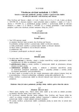 Návrh - VZN č. 1/2015, ktorým sa upravujú podmienky predaja