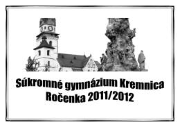 Ročenka 2012 - Súkromné Gymnázium Kremnica
