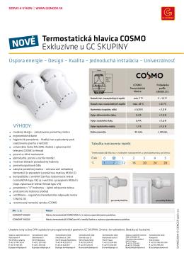 Termostatická hlavica COSMO Exkluzívne u GC SKUPINY