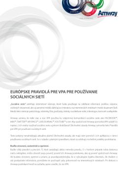Európske pravidlá pre VPA pre používanie sociálnych sietí
