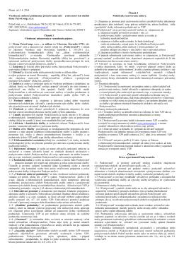 Všeobecné zmluvné podmienky poskytovania sietí a