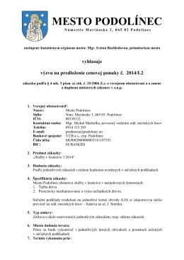Služby v lesníctve 1/2014 - výzva