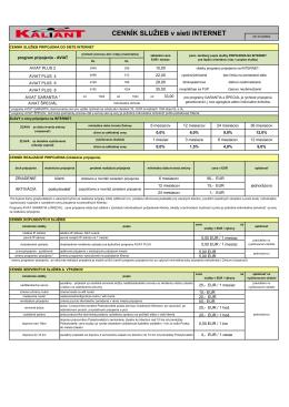 Cenník služieb v sieti internet platný k 2.8.2012