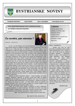 Bystrianske noviny č. 01/2012