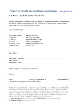 Vzorový formulár pre uplatnenie reklamácie WWW.NA