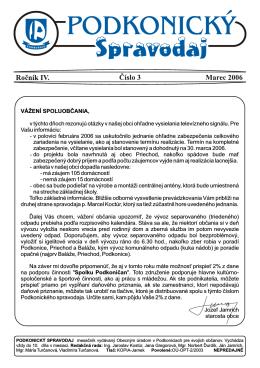 Spravodaj 3 / 2006 – Stiahnuť v PDF verzii