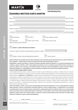 Žiadanka na vydanie mestskej karty