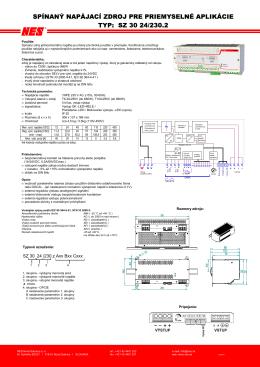 spínaný napájací zdroj pre priemyselné aplikácie typ: sz 30 24/230.2