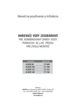 Stiahnite si návod na používanie a inštaláciu (.pdf, 562 kB)