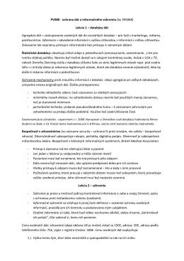 PV080 - ochrana dát a informačného súkromia (by 395868) Lekcia 1