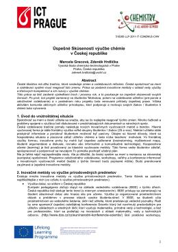 Úspešné Skúsenosti výučbe chémie v Českej republike