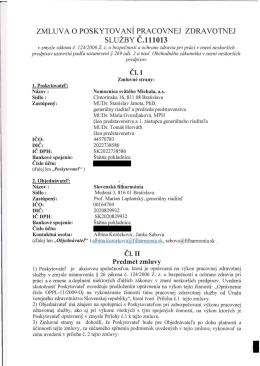 zmluv ao poskytovaní pracovnej zdravotnej služby č.111013