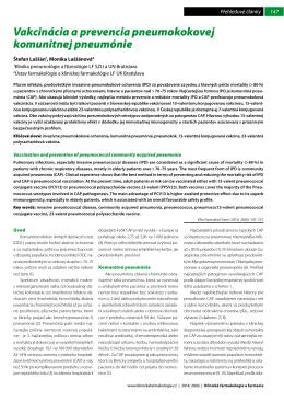 Vakcinácia a prevencia pneumokokovej komunitnej pneumónie