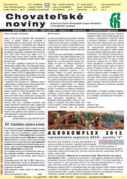 Chovateľské noviny 1/ 2013