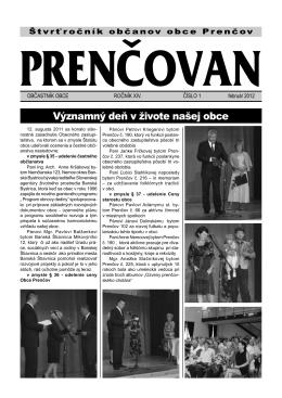 Noviny Prenčovan č. 1/2012