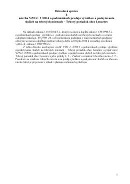 Dôvodová správa k návrhu VZN č. 2 /2014 o