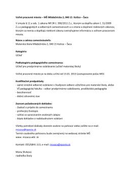 Voľné pracovné miesto – MŠ Mládežnícka 2, 040 15 Košice – Šaca