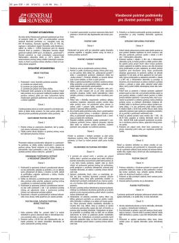 Všeobecné poistné podmienky pre životné poistenie