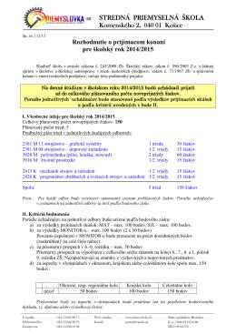 Rozhodnutie o prijímacom konaní pre školský rok 2014/2015