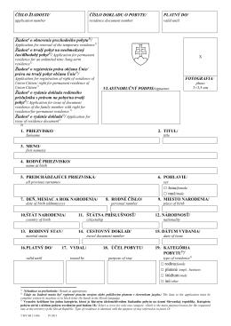 Žiadosť o obnovenie prechodného pobytu 11-056 IV-2013