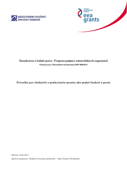 Príručka pre žiadateľa o poskytnutie grantu na projekt