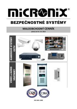 Cenník CCTV, Vrátniky, Zámky
