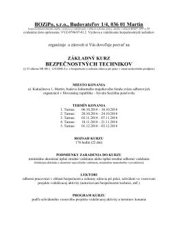 BOZiPo, s.r.o., Budovateľov 1/4, 036 01 Martin