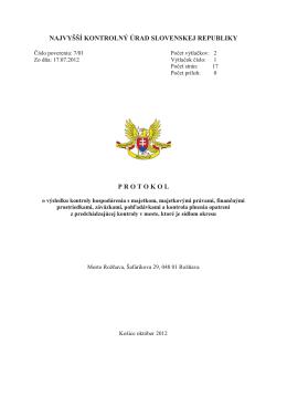 Protokol o výsledku kontroly NKÚ a Dodatok č. 1
