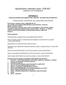 Zápisnica z VS SVB ZVB 502 zo dňa 29 05 2013 pre