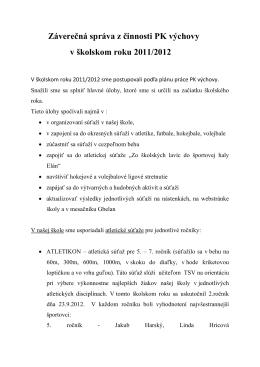 Záverečná správa z činnosti PK výchovy v školskom roku 2011/2012