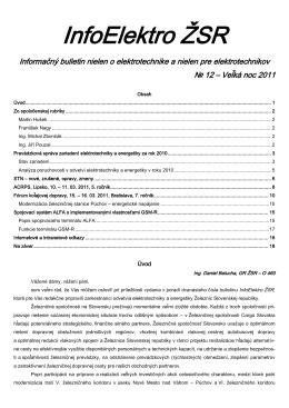 InfoElektro ŽSR 12/2011 - Spoločnosť dopravy SVTS