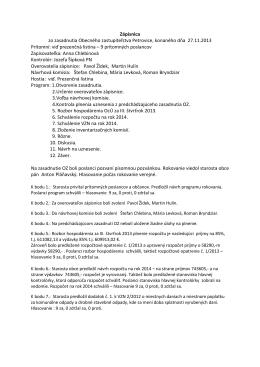 Zápisnica a uznesenie OZ z 27.11.2013
