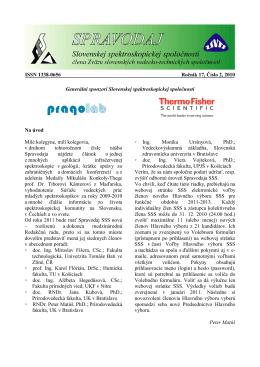 Spravodaj ročník 17 č. 2 - Slovenská spektroskopická spoločnosť
