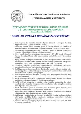SOCIÁLNA PRÁCA A SOCIÁLNE ZABEZPEČENIE