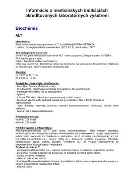 Informácie o medicínskych indikáciách akreditovaných