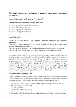 Špecifické situácie pre dabigatran – spoločné odporúčania